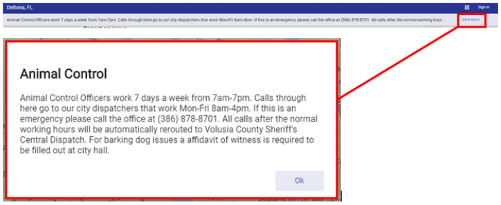 """screen shot of The department notification banner will appear at the top of the screen. At the far right of the banner a """"View more"""" button is present. By clicking on it you will get the full department notification that appears in the middle of the screen. To close the message an """"Ok"""" button is at the bottom right of the dialog box."""