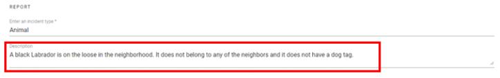 screen shot of A description of an incident has been types into the description text field.