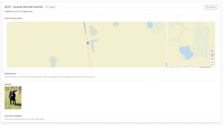 screen shot of  A new screen that will open with the details of your recently submitted incident.