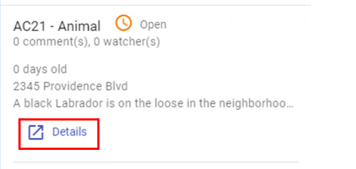 """a screen shot of  The incident details that will appear at the left of the screen. At the bottom of the incident summary is a """"Details"""" link."""