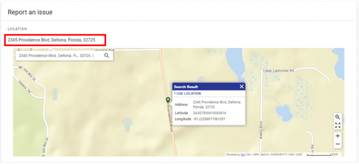 screen shot of The incident address shown at at the top-left above the incident map.