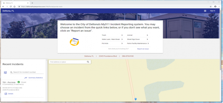 a screen shot of The main Deltona My311 web portal comprises of the incident reporting section at the top, a list of recent incidents to the left and a map with map markers to the right.
