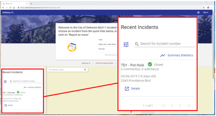screen shot that has recent incidents list showing an example of an incident reported concerning a pot hole.