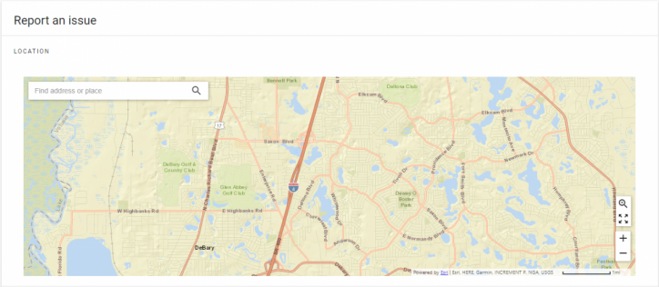 screen shot of a map used to search for a location by typing the address location of the incident.