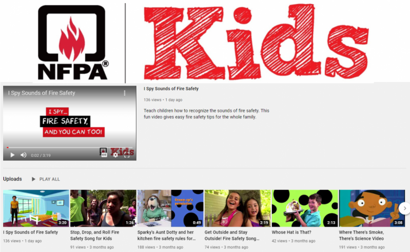 NFPA Kid's Youtube Channel logo and screen shot