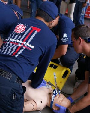 Firefighters do CPR demo
