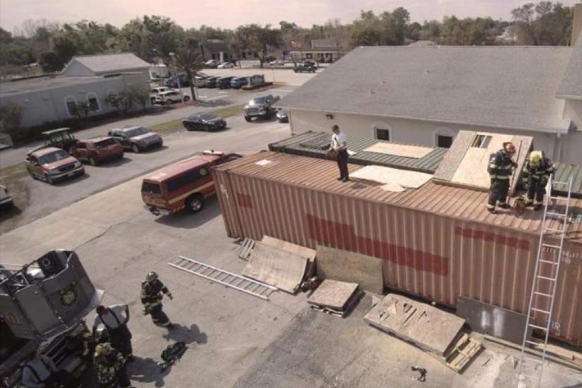 Drone picture of firefighters training