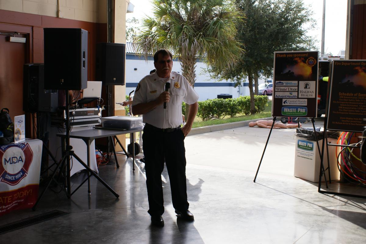 Fire Chief Snyder welcoming everyone and thanking our sponsors