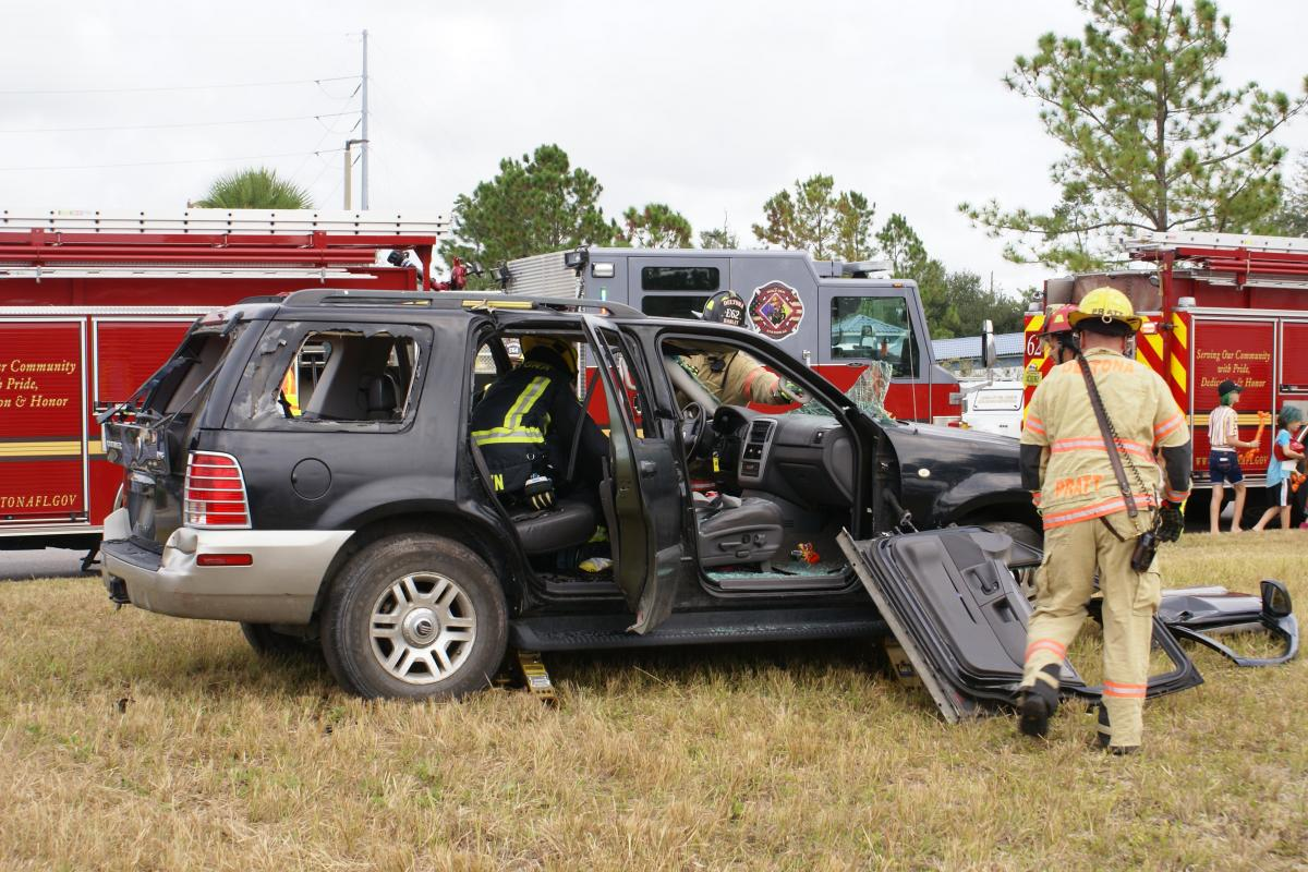 Firefighters removed the doors during the vehicle extrication demonstration