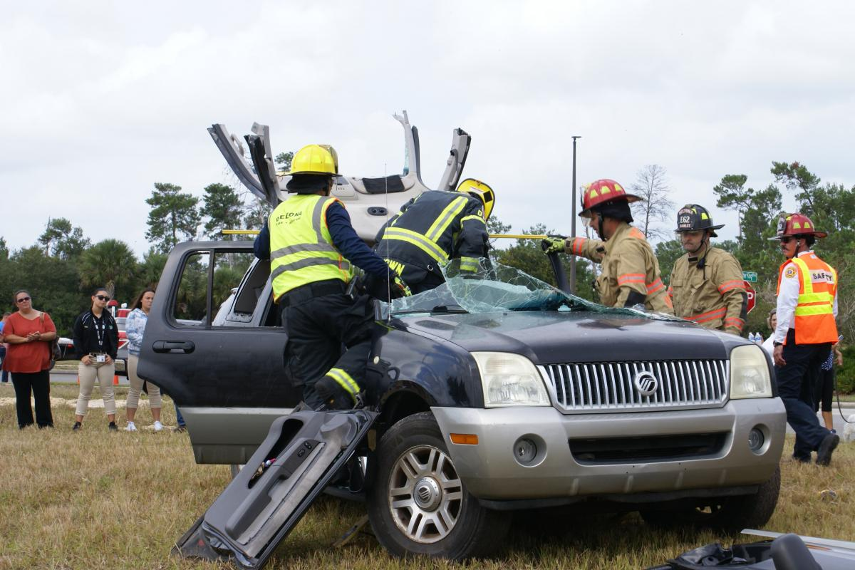 Roof of the vehicle folded back during the extrication demonstration