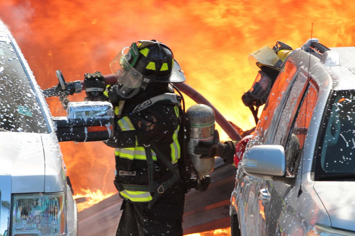 Firefighter at burning structure fire
