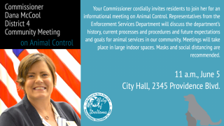Animal Control Meetings planned for each Commissioner.